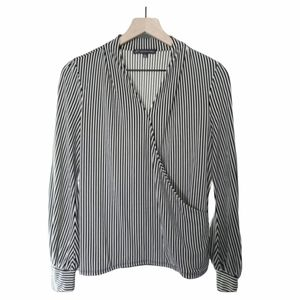 Adrianna Papell Striped Black Overlay Blouse - M